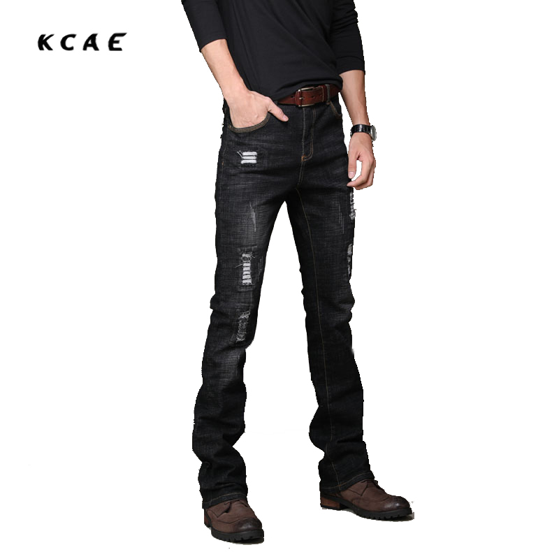 New Mens Black Flared Jeans Boot Cut Leg Flared Slim Fit Mid Waist Male Designer Classic Hole Denim Jeans Pants Bell Bottom Jean anne klein new deep black slim leg ponte director women s 2 dress pants $89 361