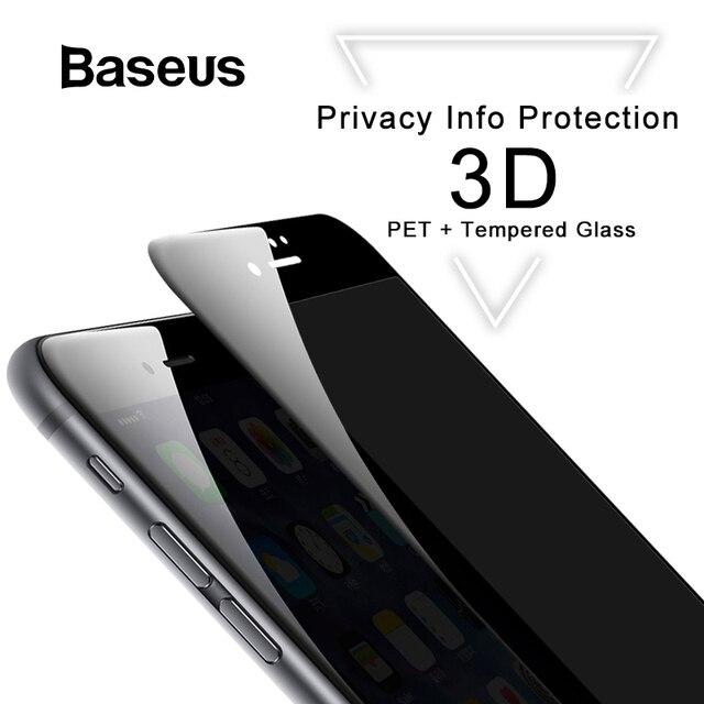 Baseus 3D Screen Protector For iPhone 7 7 Plus Anti Spy Privacy Protective Glass For iPhone 8 8 Plus Tempered Glass Filme