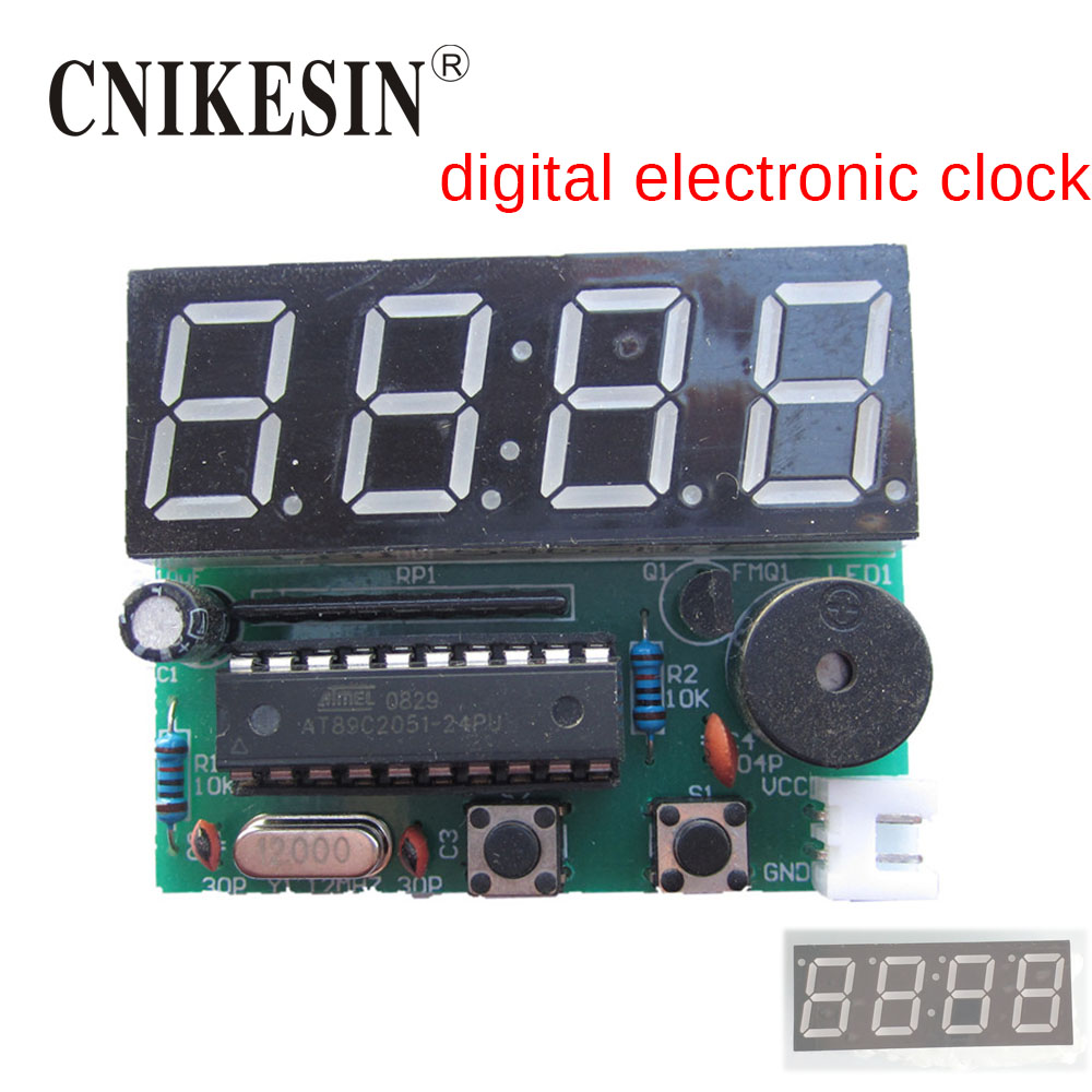 Top Quality Time Clock Diy Kits Led Digital Four Color Circuit Cnikesin Bit Single Chip Electronic Production Pcb