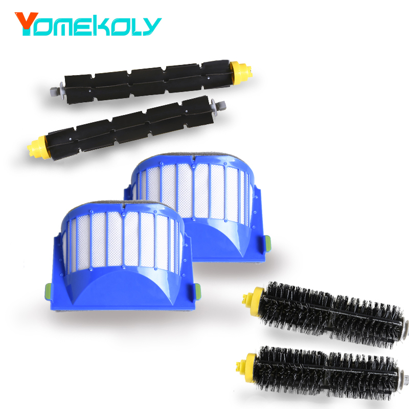 Aero Vac Filter Black Hair Bristle Brush Flexible Beater Brush for iRobot Roomba 600 Series 620 630 650 660 Vacuum Cleaner Parts aero vac filter bristle brush flexible beater brush 3 armed side brush tool for irobot roomba 600 series 620 630 650 660