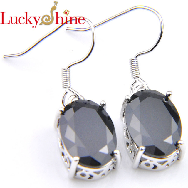 Luckyshine Holiday Gift Oval Black Onyx Crystal Zirconia Wedding Dangle Earrings Russia Usa Australia Free Shipping