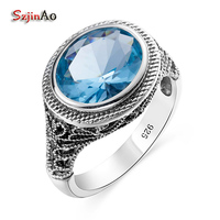 Trend Of European Royal Aquamarine Vintage Ring Real 925 Sterling Silver Jewelry For Women Cocktail Party