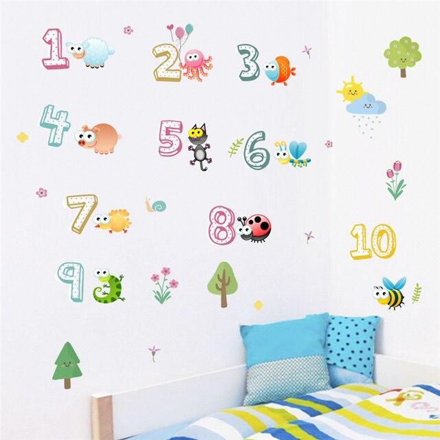 Leuke Dieren Met Arabische Cijfers Muurstickers Voor Kleuterklas Kinderkamer Woondecoratie Nursery Muurschilderingen Muurtattoo