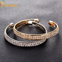 2017 New Arrival Hot Sell Modern Stylish Accessories Trendy Jewelry Double-deck Crystal Open Cuff Bracelets