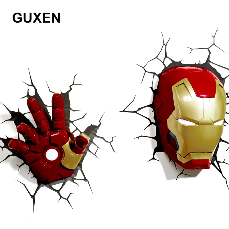 все цены на GUXEN 3D Marvel Iron Man Hand & Head Creative Sticker Super Hero Wall Lamp light decoration luminaires for Children's night lamp