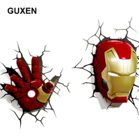 GUXEN 3D Marvel Iron Man Hand & Head Creative Sticker Super Hero Wall Lamp light decoration luminaires for Children's night lamp