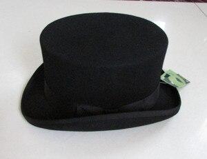 """Image 2 - גברים בסגנון בריטי פדורה צמר נשים Steampunk למעלה כובע צילינדר כובע קסמים קוסם חבילה טובה צמר מגבעות לבד שווי 12 ס""""מ גבוהה B 8114"""