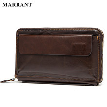 MARRANT Genuine Leather Men Wallets Purse Men Fashion Zipper Clutch Wallets Card Holder Men's Purses Wallet Leather Hand Bags