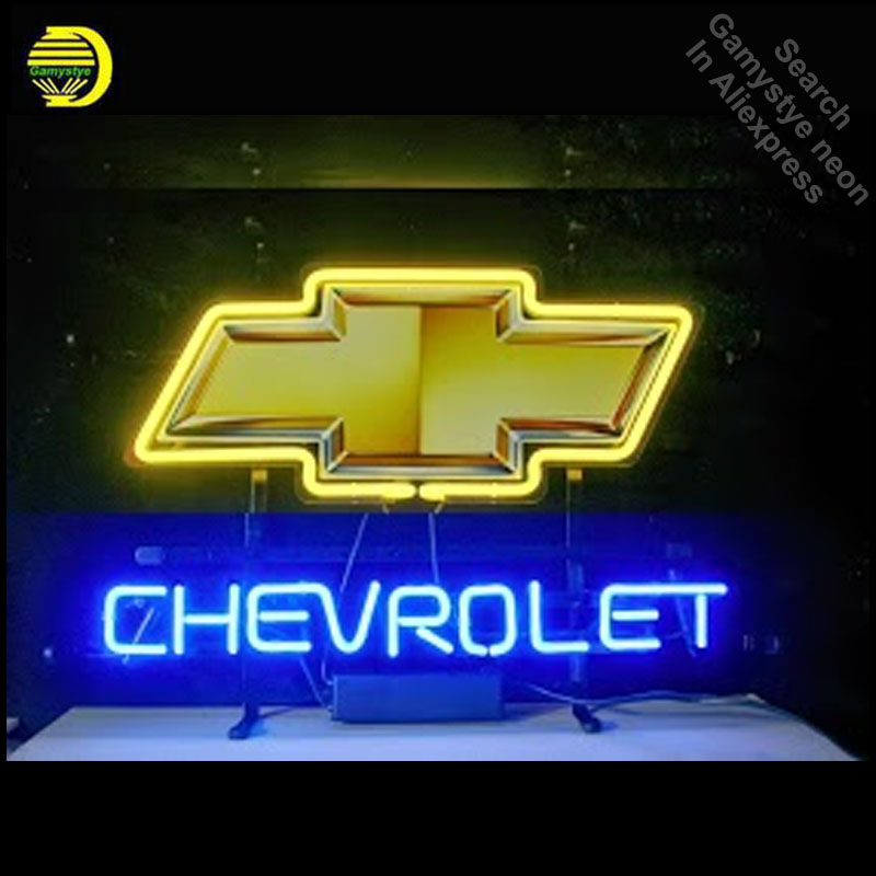 Neon Sign for Chevrolet Yellow Bow Tie Neon Bulb sign handcraft neon signboard Decorate Garage neon wall lights anuncio luminos очки true spin neon yellow