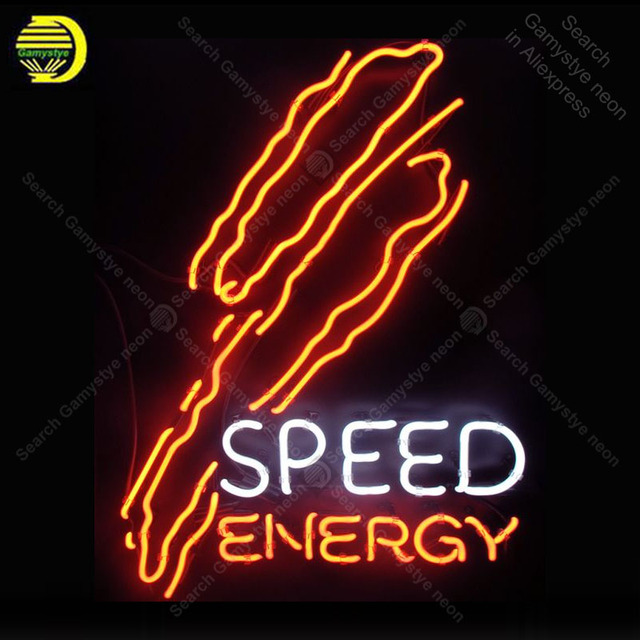 Speed Energy NEON SIGN REAL GLASS Tubes BEER BAR PUB Sign LIGHT SIGN Business STORE DISPLAY ADVERTISING LIGHTS lamp for sale