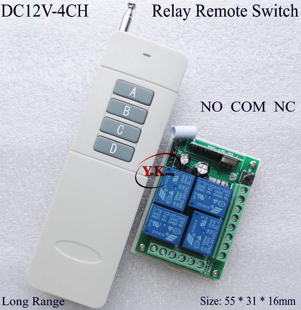 3000M 4CH channels 4Relay 12V wireless remote control system receiver&transmitter 315/433MHZ Learning code output is adjustable wireless pager system 433 92mhz wireless restaurant table buzzer with monitor and watch receiver 3 display 42 call button