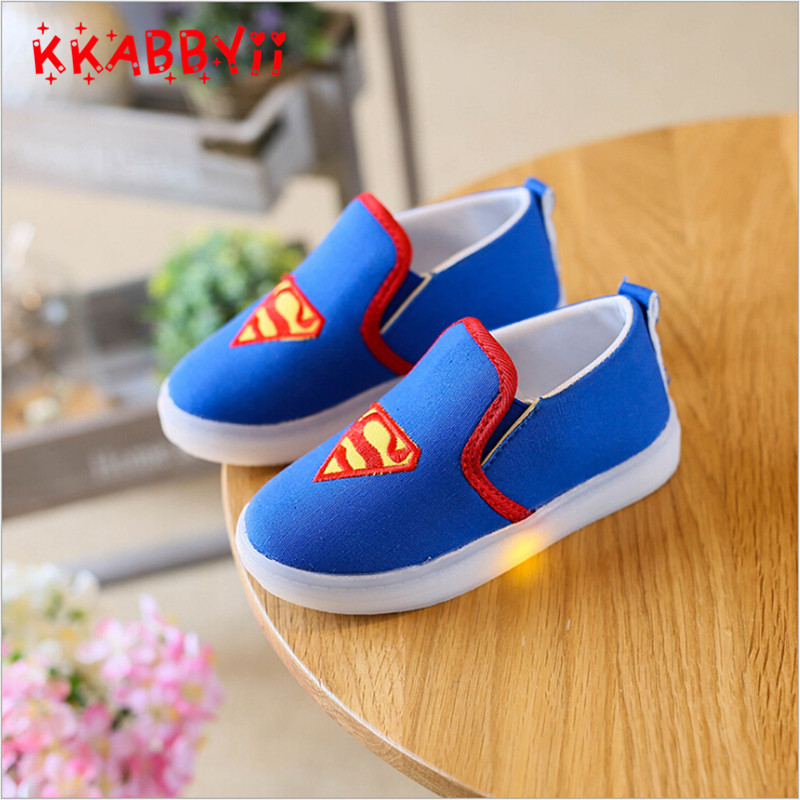 f8691e9b6fa48b KKABBYII Kids Shoes With Light Boys Led Sneakers New Spring Spider-Man  Batman Superman Casual