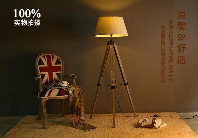 Massief Houten Vloer : Retro stijl woonkamer lamp creatieve amerikaanse land floor licht