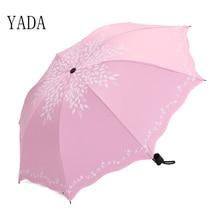 YADA Willow Leaves Float Folding Umbrella Rain Women uv Black Coating Leaf Printing Womens Umbrellas Wholesale YS081