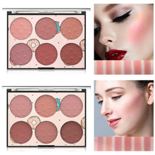 MISS ROSE 6 Color Natural Long-lasting Blusher Powder Palette Face Matte Highlighter Powder Illuminated Blush Powder TSLM2(China)
