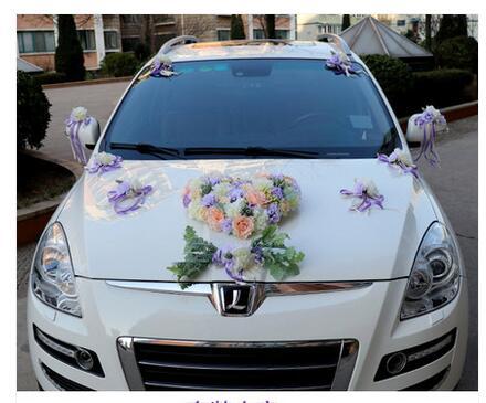 Luxo Silk Rose flor do carro do Casamento da Fita da flor Artificial set decoração fontes do casamento - 4