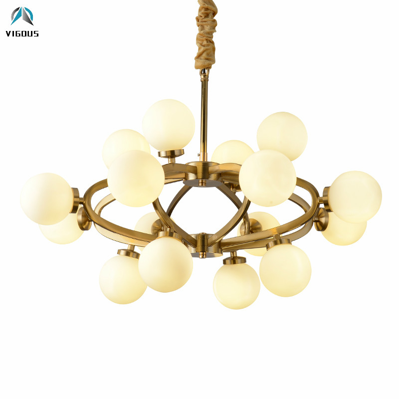 Post Modern Glass Globes Shades Led Chandelier Lustre Gold Pendant Chandelier Lighting Fixtures Foyer Luminarais Lamparas