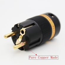 1Piece Viborg Gold Plated Schuko Male Power Plug Connector Audio HIFI