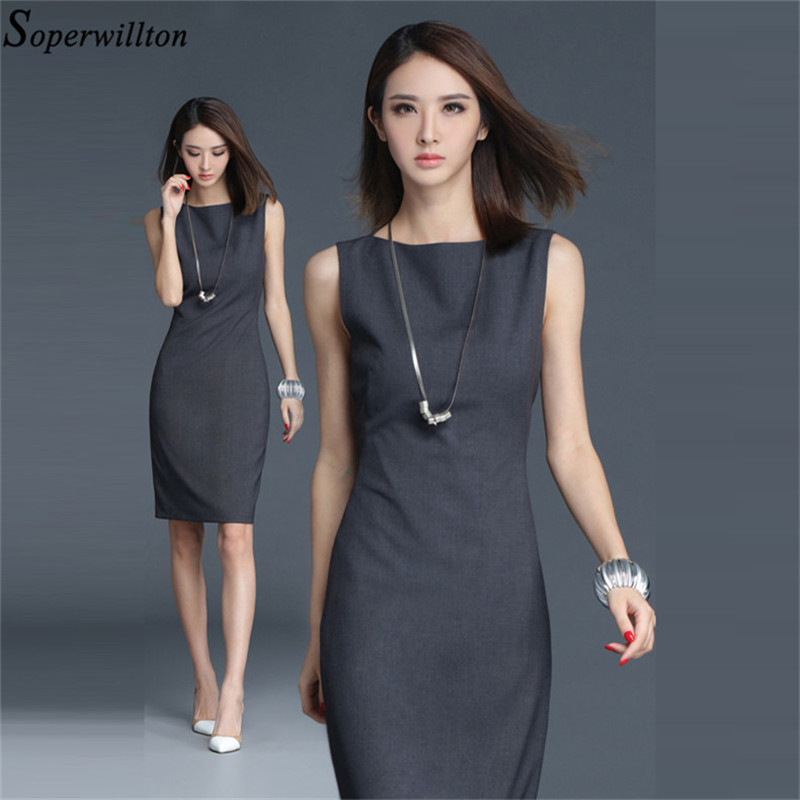 2019 New Summer Office Dress Women Elegant O-neck Sleeveless Knee Length Black Grey Wear to Work Sheath Ladies Dresses #BD725 1