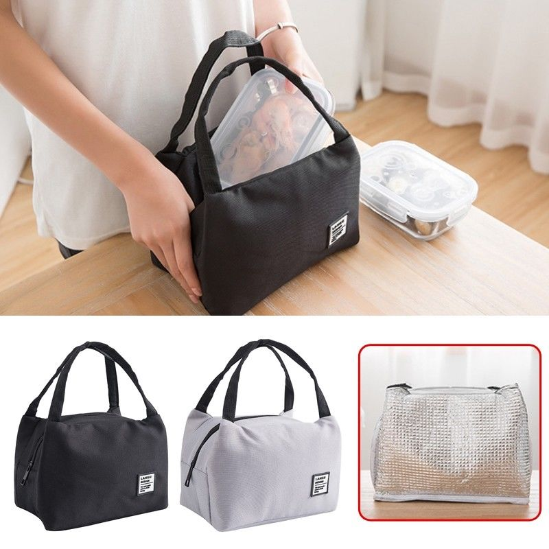Portable Zipper Lunch Bags Box Insulated Canvas Box Tote Bag Thermal Food Picnic Bag Aluminum Foil Insulation Bag Waterproof enlarge