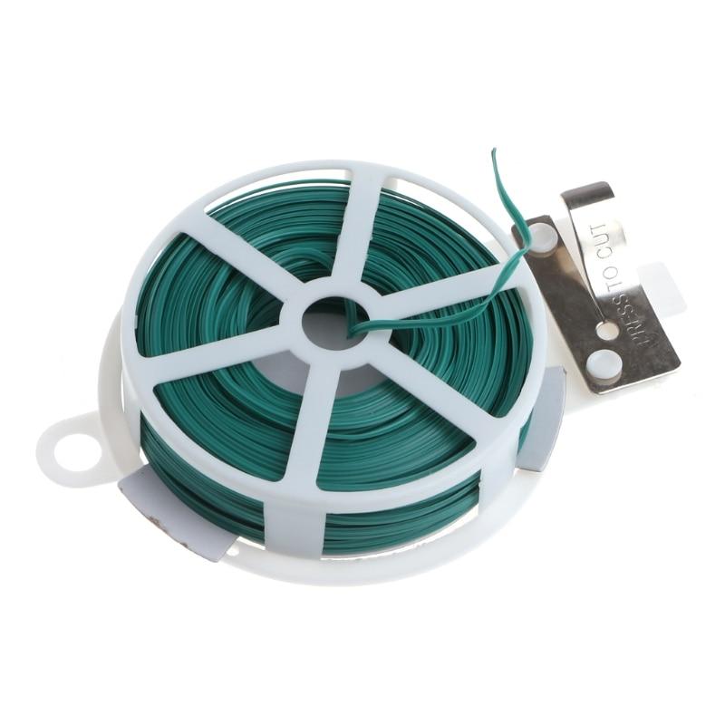 30m 50m Garden Twist Tie Wire Cable Reel With Cutter Gardening Plant ...