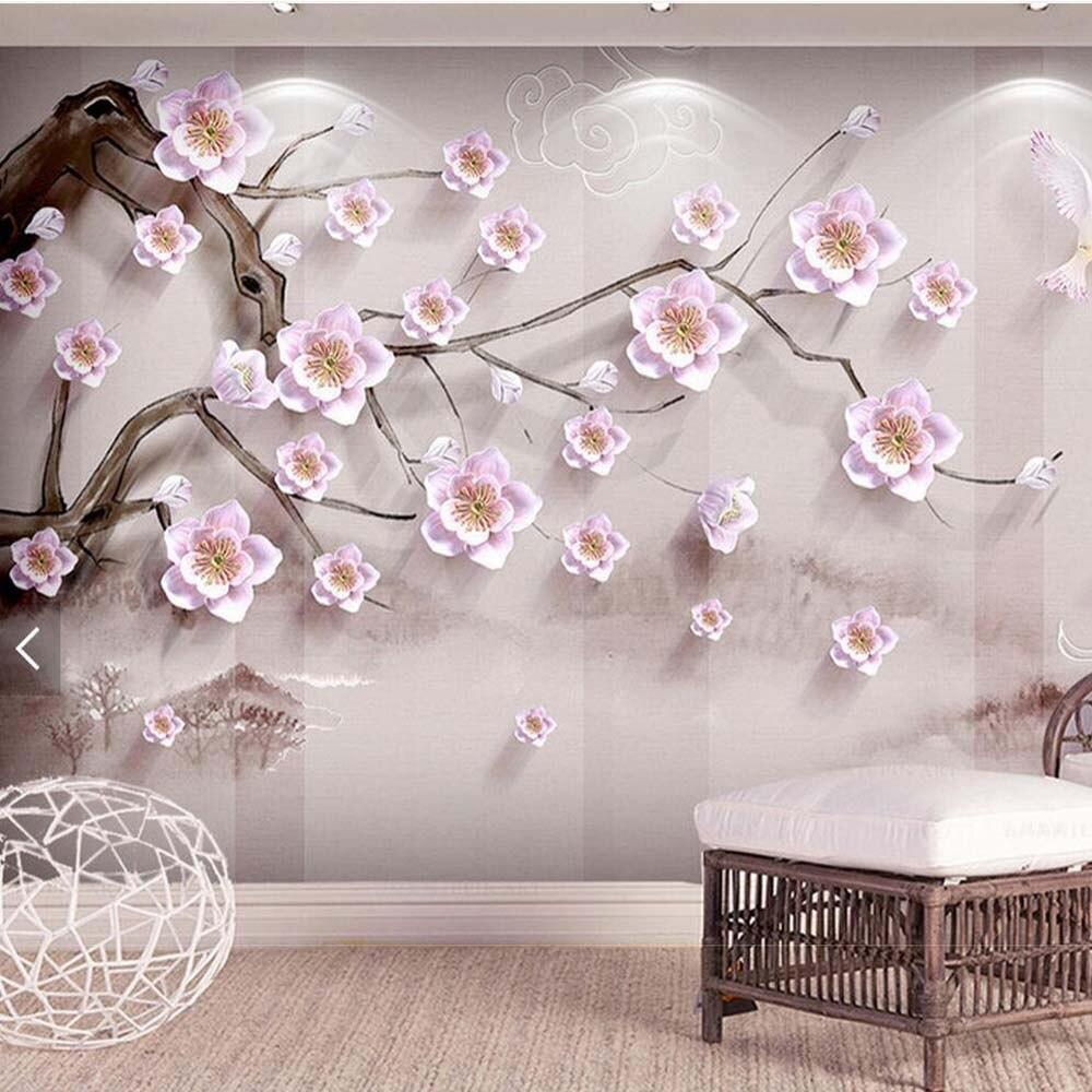 buy plum trees papier peint en rouleau papier peint 3d living room wallpaper. Black Bedroom Furniture Sets. Home Design Ideas