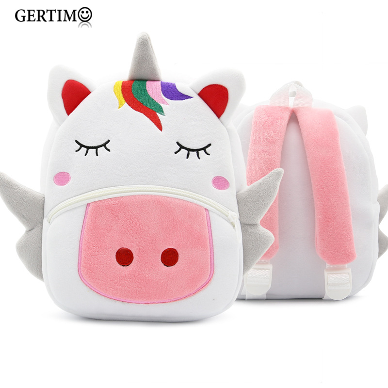 3D Cartoon Plush Children Backpacks Kindergarten Baby School Bag Cute Animal Unicorn Backpack Schoolbags Girls Boys Gift