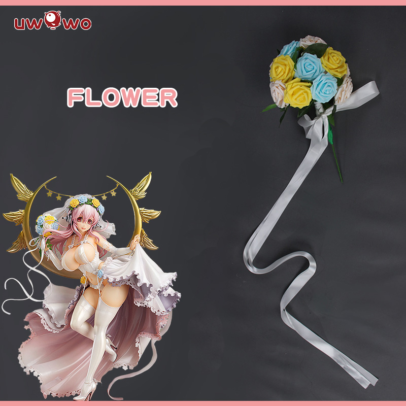 UWOWO SUPER SONICO Cosplay SONICOMI Soni-Ani Super Sonico Animation VOCALOID Idol Wedding Dress Costume Flower Bouquet Prop