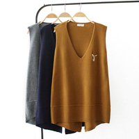 Plus size spring vest sleeveless sweaters 2018 dark blue gray Khaki Embroidered knitted V neck wool female top wear Pullovers