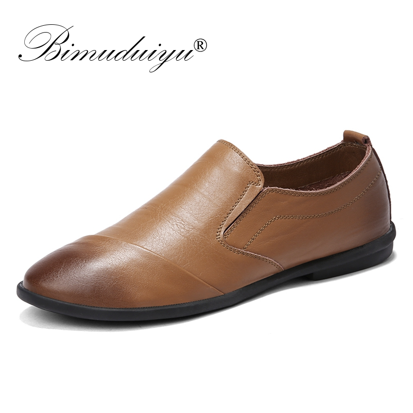 BIMUDUIYU Genuine Leather Men Loafers Fashion Casual Male Shoes Slip On Men Leather Flats Shoes Simple Design Driving Footwear men casual shoes genuine leather fashion moccasins men flats loafers soft bottom leisure driving shoes male footwear rmc 411