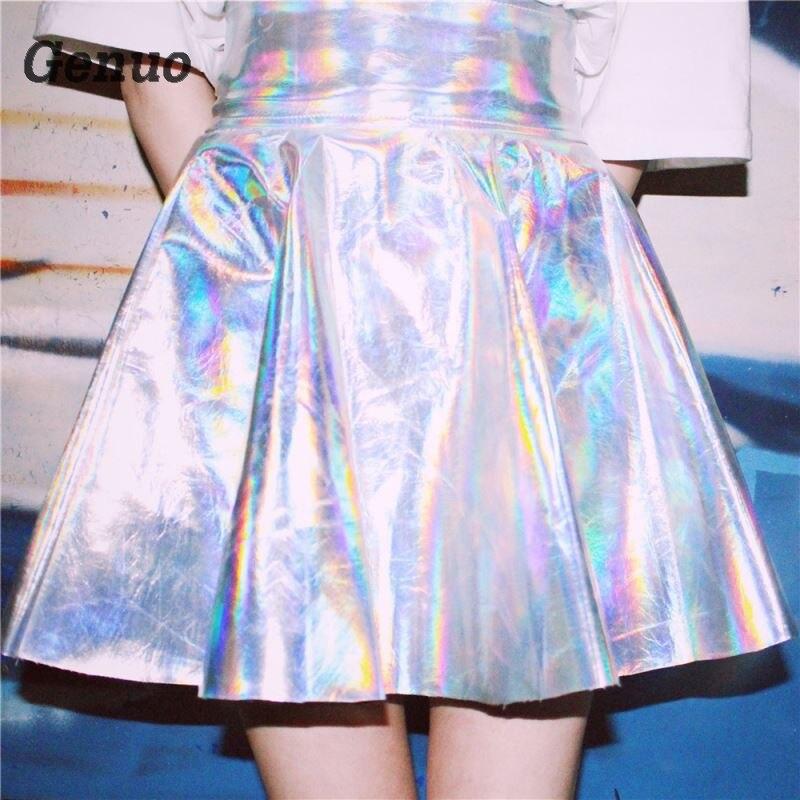 Summer Skirts Womens Silver Pu Leather Skirt Holographic Laser Skirt High Waist Pleated Short Skirt Faldas Mujer Summer 2018