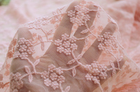 High quality new cotton fabric 1meter/lot pink or green exquisite flower net yarn cotton embroidery mesh fabric for DIY clothing