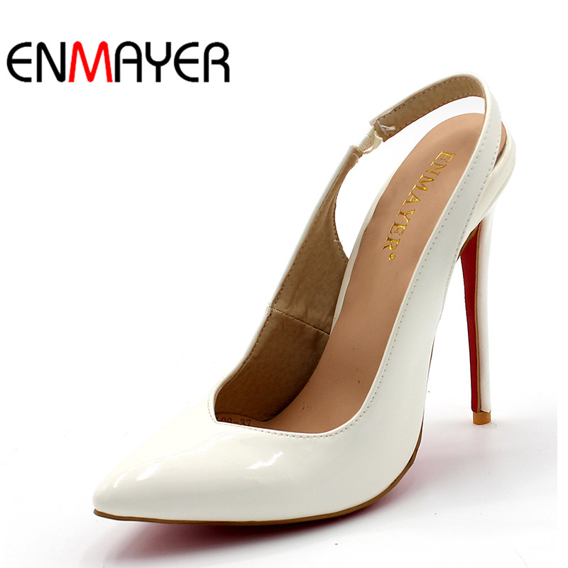 ENMAYER Basic Concise Slip-On Super High Heels Pointed-Toe Pumps Thin Heels Open Back Woman Outside Wedding Shoes for Size 34-47 enmayer pointed toe sexy black lace party wedding shoes woman high heels shallow pumps plus size 35 46 thin heels slip on pumps