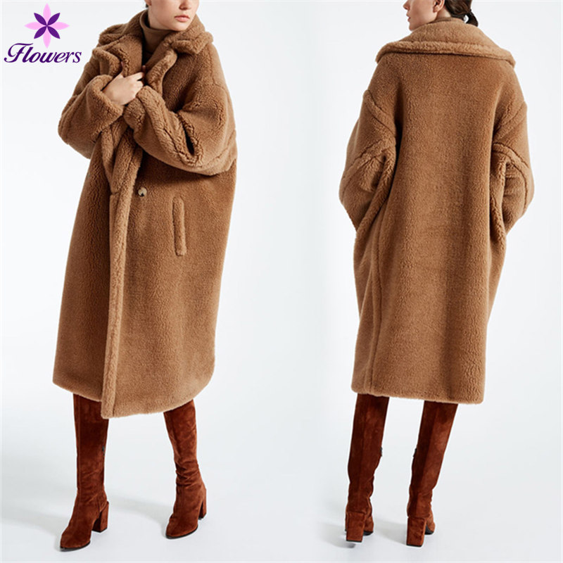 Nouveau La Faux D'hiver Laine Plus Fourrure Qualité Lq441 En Mode camel Long Taille Manteau Chaud Veste Femmes Coréenne Haute D'agneau Parka Épaissir Red 56wzxXFq