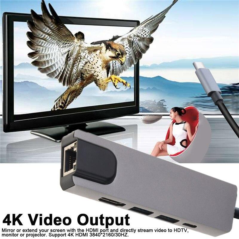 USB3.1 Type C à HDMI 4K USB 3.0 adaptateur convertisseur vidéo pour MacBook à TV 1000M câble de carte réseau Gigabit Ethernet Lan RJ45