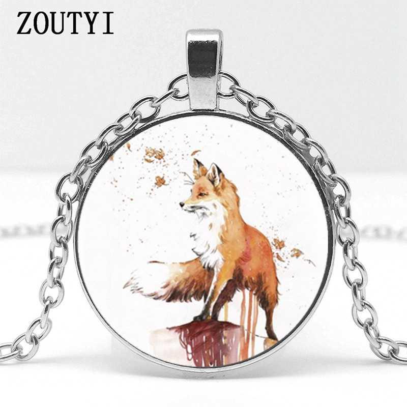 2018/hot bán, mùa thu lá phong fox thủy tinh mặt dây chuyền vòng cổ, người đàn ông và phụ nữ mặt dây chuyền vòng cổ trang sức.