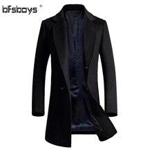 Зима 2016 высокое качество Бренд-Одежда Куртка Мужская Шерстяное Пальто однобортный Пальто Мужчины Slim Fit пальто плюс размер M-4XL 1725
