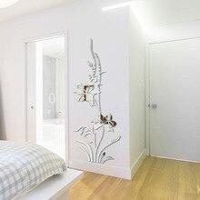 Mirror Effect Sticker 60 x 150 cm flower pattern mirror wall sticker home decor living room wall decals