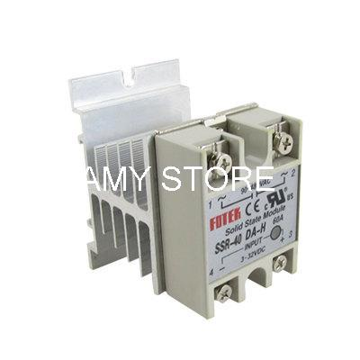 DC to AC Solid State Relay SSR 40A 3-32VDC 90-480VAC w Aluminum Heat Sink ssr 80aa ac output solid state relays 90 280v ac to 24 480v ac single phase solid relay module rele 12v 80a ks1 80aa