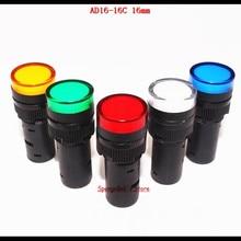 5 шт./лот, смешанный Цвет AC/DC 12 V, 24 V, 110 V, AC220V AD16-16C 16 мм крепление Размеры светодиодный Мощность сигнал Индикатор Контрольная лампа