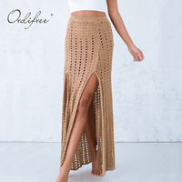 Ordifree 2017 Summer Women Beach Long Skirt Knitted Split High Waist Hollow Out Black Sexy Maxi