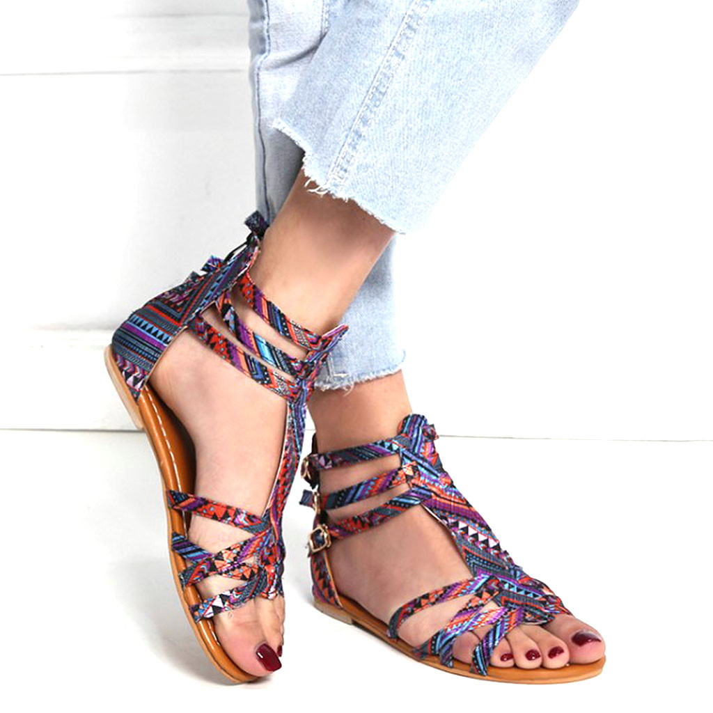 Sandals Bohemian-Style Slippers Open-Toe Woman Women's Contrast Zip -10 National Wind-Embroider