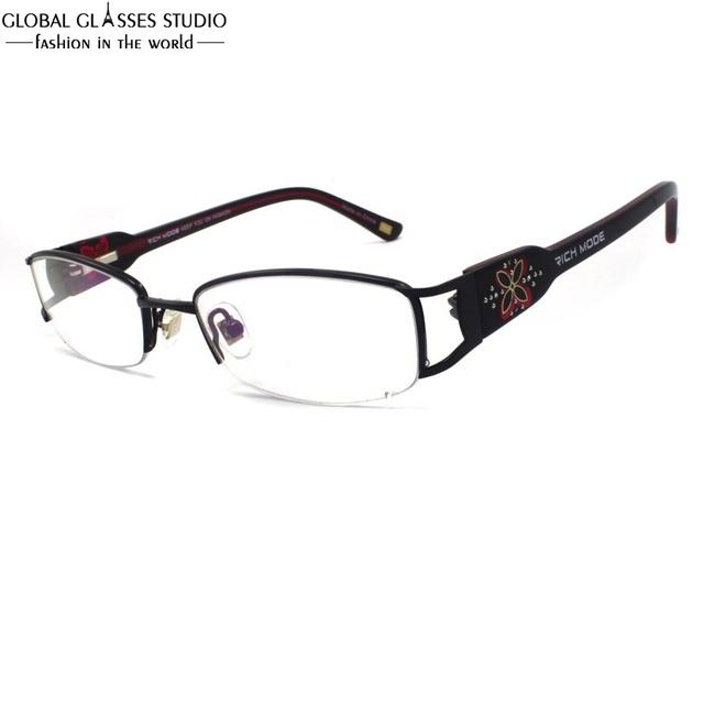 Lente Oval Metade Aro Óculos de Armação de Metal Sem Chifres Templo Grande Teste Padrão do Trevo Das Mulheres De Luxo Strass Decoração Eyewear RM00460-C1
