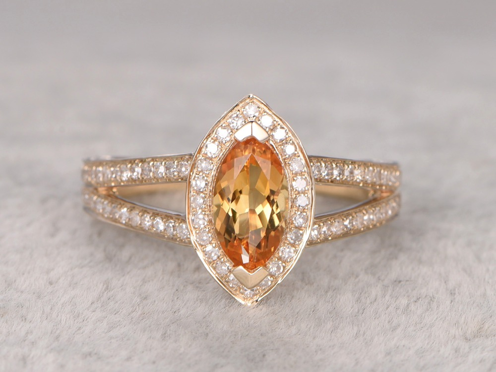 MYRAY Solid 14k Yellow Gold Natural 5x10mm Marquise Cut Yellow Citrine Gemstone Antique Vintage Rings Women Engagement Ring Men