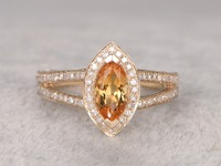 MYRAY Solid 14k Yellow Gold Natural 5x10mm Marquise Cut Yellow Citrine Gemstone Antique Vintage Rings Women