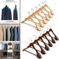 6 Pcs Wide Shoulder Wooden Hangers with Non Slip Pants Bar for Coat Clothes Dress Suit JA55