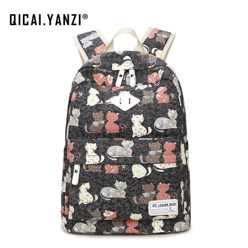 QICAI YANZI 2017 New Girls High Capacity Schoolbag Women Canvas Cat Printing Backpacks Mujer Mochila Escolar