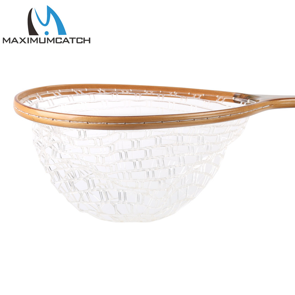 Maximumcatch Fly Fishing Landing Net Soft Rubber Catch & Release Net Burl Wood Straight Tight Handle For Trout Fishing