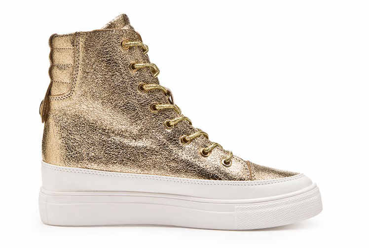 c6390025f4f1 2017 en cuir Casual Chaussures Femmes Wedge Talon Haut Bottes High Top Punk  Dames Casual Snickers Wedge Plate Forme Chaussures Or Argent dans Bottines  de ...