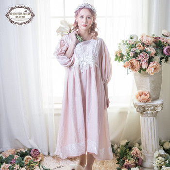 New Women Vintage Gown Plus Size Cotton Princess Nightgown Ladies Royal Casual Sleepwear Women Night wear Vestidos Dress BLN1803